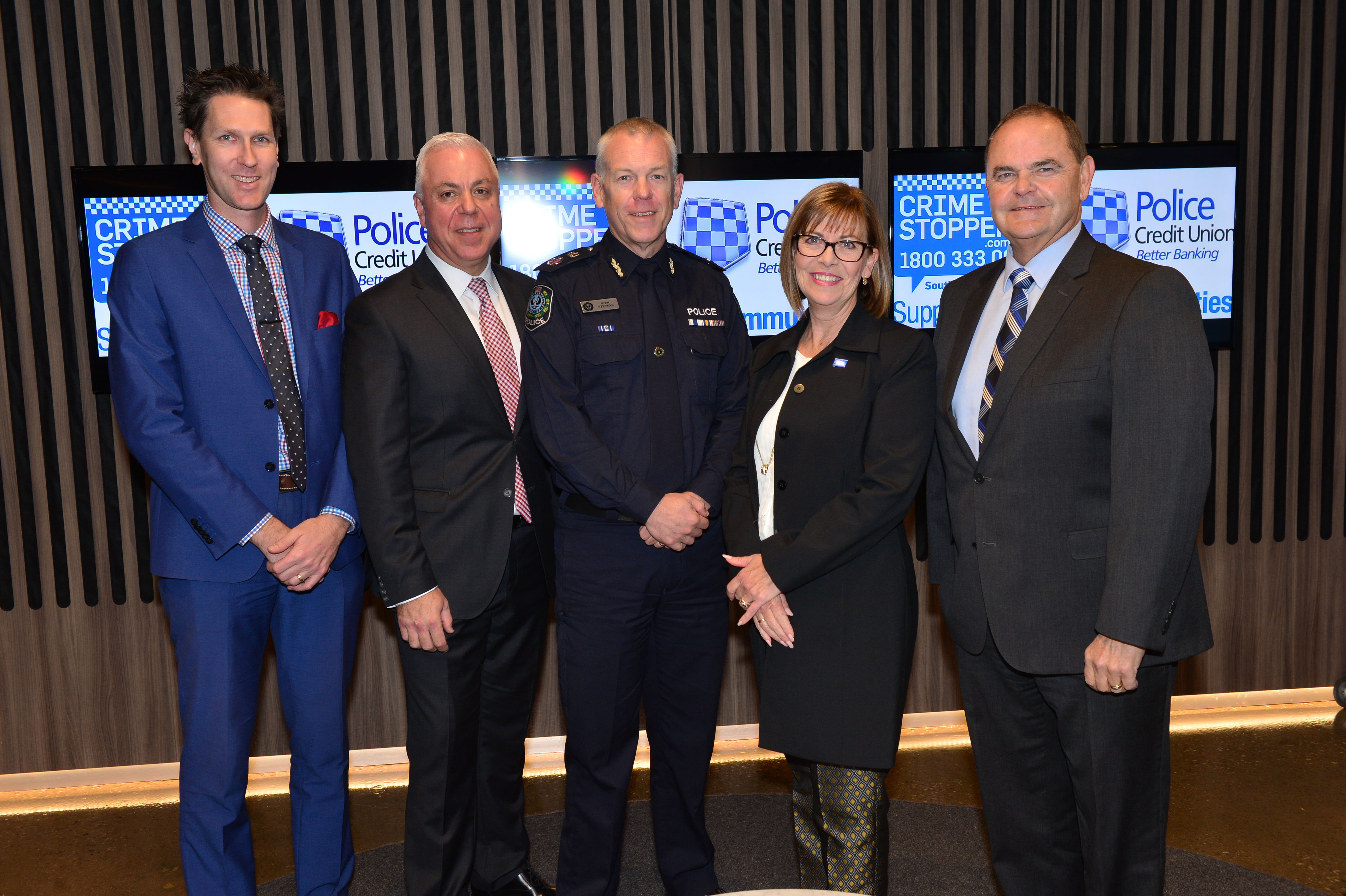 L-R ?????, Costa Anastasiou Chief Executive Officer PCU, Police Commisioner Grant Stevens , Sharon Hanlon Chair of Crime Stoppers and Alex Zimmerman Chairman of of PCU at the annoucment the Police Credit Union major sponsorship of Crime Stoppers at Channel 9 studios on Tuseday the 11th of July 2017.Picture Mark Brake Photography